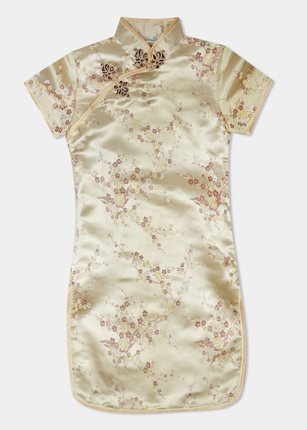The Cheongsam or Qipao, is a dress with distinctive Chinese features of mandarin collar, side splits and hand stitched flower and knot frog fastenings. Manufactured in authentic high quality silk/rayon brocade in a classic gold cherry blossom design - a symbol of beauty and love. The perfect way to dress up.