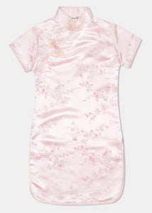 The Cheongsam or Qipao, is a dress with distinctive Chinese features of mandarin collar, side splits and hand stitched flower and knot frog fastenings. Manufactured in authentic high quality silk/rayon brocade in a beautiful pink cherry blossom design - a symbol of beauty and love. Ideal for weddings, parties and more