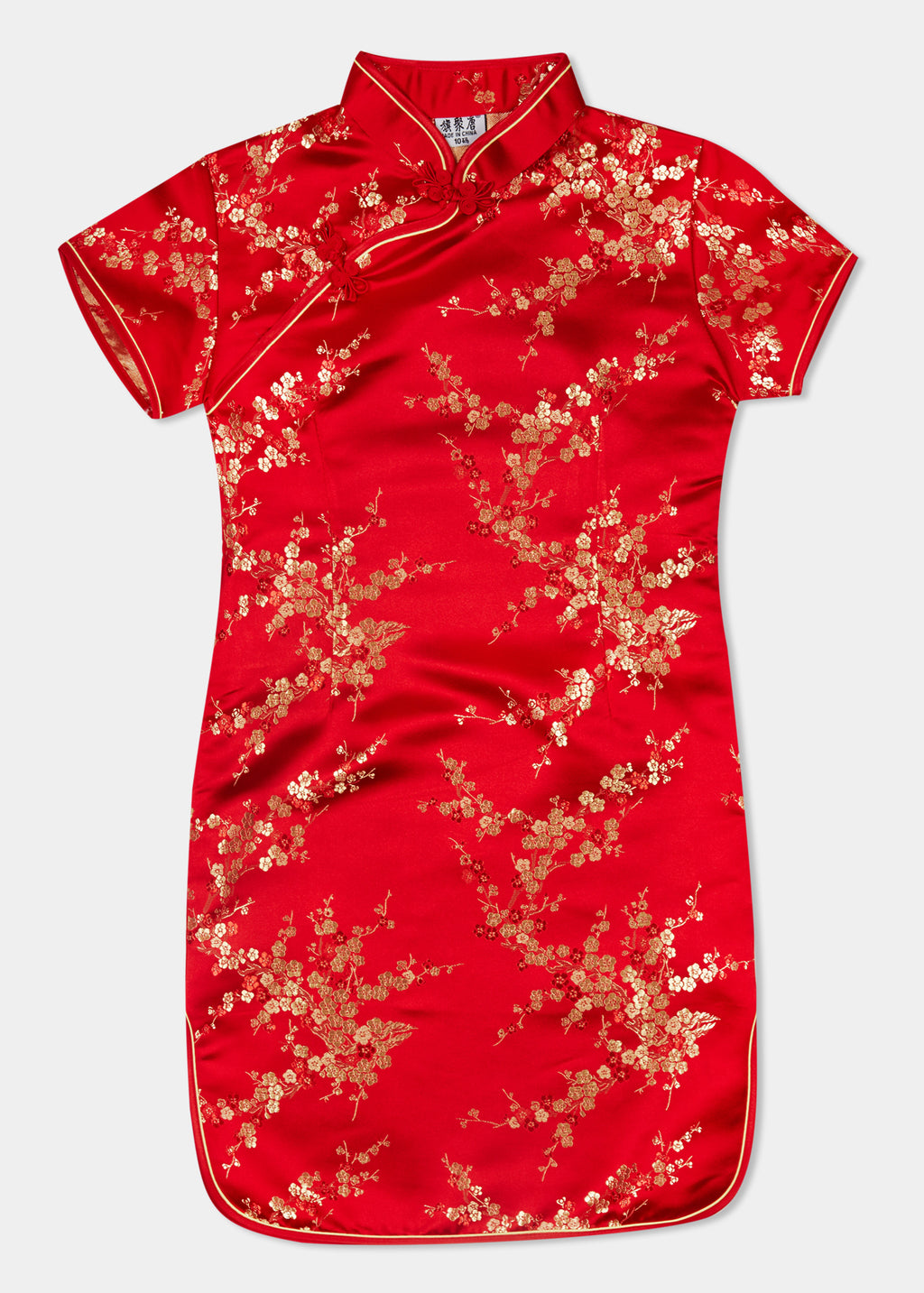 The Cheongsam or Qipao, is a dress with distinctive Chinese features of mandarin collar, side splits and hand stitched flower and knot frog fastenings. Manufactured in authentic high quality silk/rayon brocade in a stunning red cherry blossom design - a symbol of beauty and love. The perfect way to dress up or party