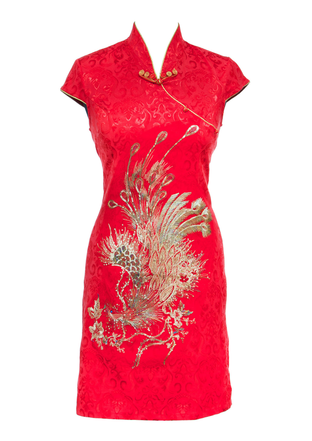 The Cheongsam or Qipao, is a feminine body-hugging dress with distinctive Chinese features of mandarin collar, side splits and hand stitched flower and knot frog fastenings. Manufactured in a striking red stretch cotton jacquard with a sequinned, gold embroidered peacock applique and gold piping. Invisible back zip