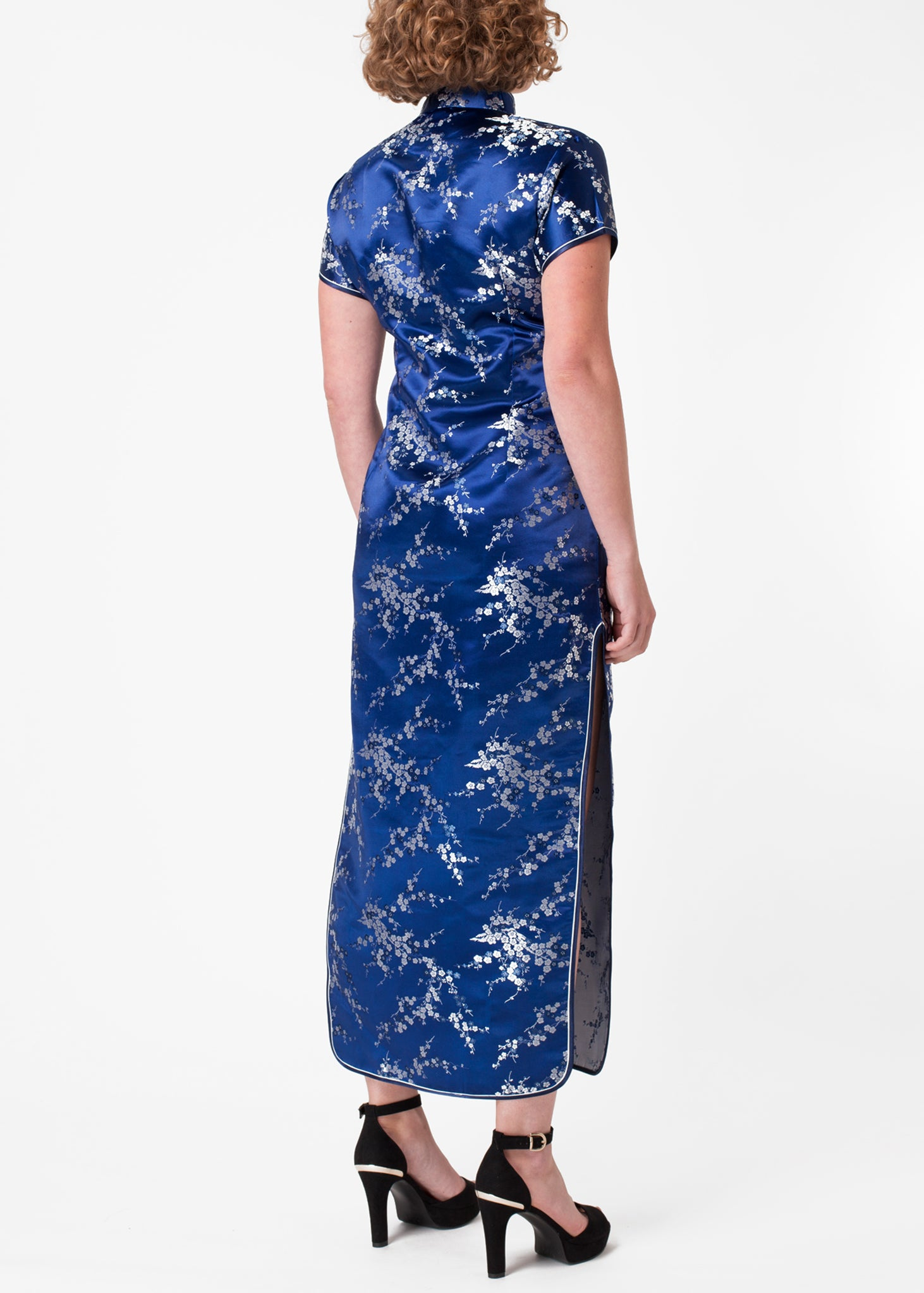 Cherry Blossom Cheongsam (Ankle Length) Blue