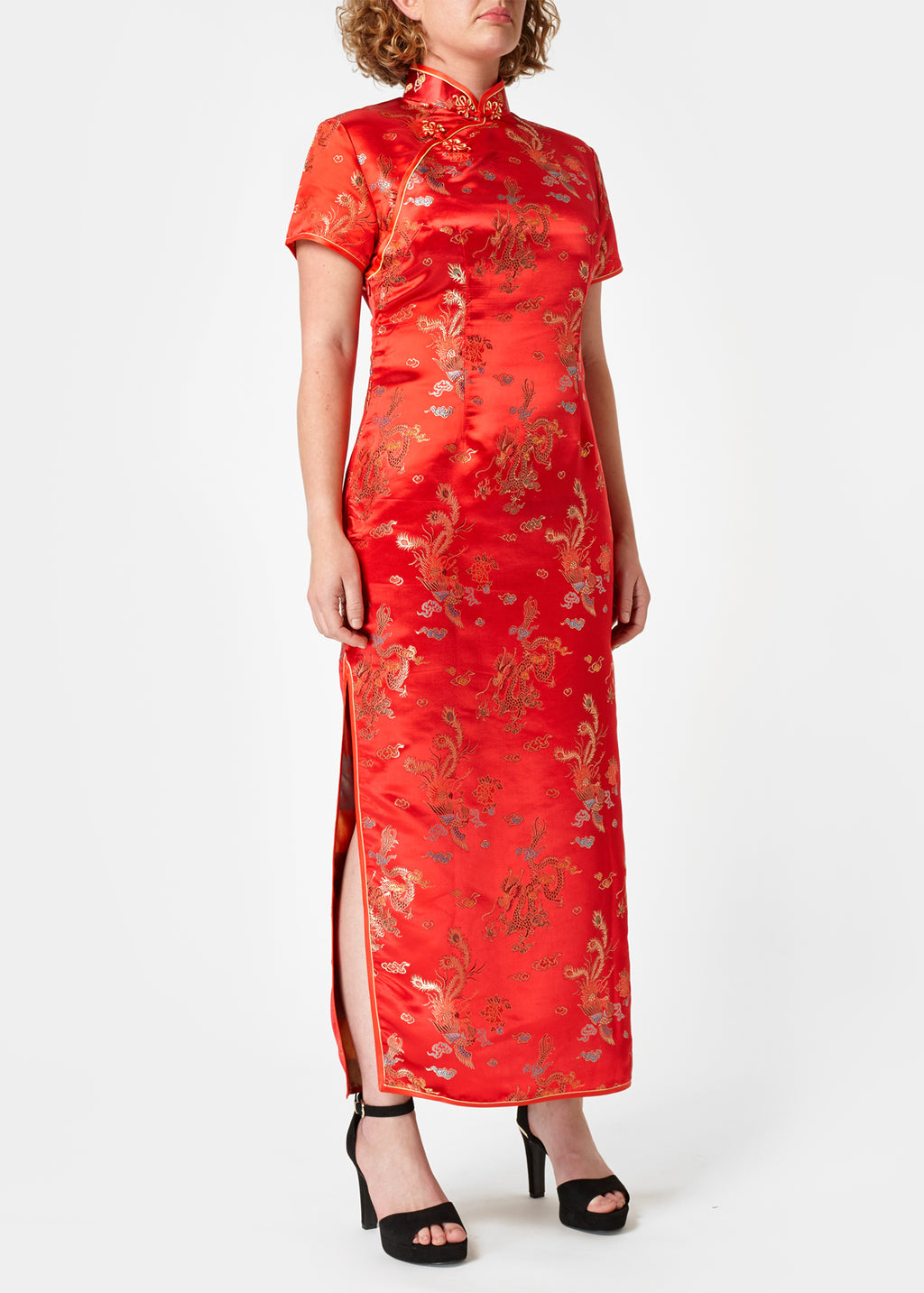 The Cheongsam or Qipao, is a feminine body-hugging dress with distinctive Chinese features of mandarin collar, side splits and hand stitched flower and knot frog fastenings. Manufactured in authentic high quality silk/rayon brocade in a stunning red dragon and phoenix design - a symbol success and prosperity
