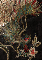Large multi coloured peacock embroidery with gold thread and sequins on an invisible net applique