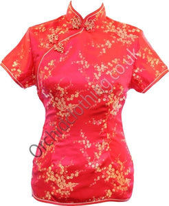 Traditional Chinese blouse in Cheongsam or Qipao style with distinctive Chinese features of mandarin collar, hand stitched flower and knot frog fastenings and side zip. Manufactured in authentic high quality silk/rayon brocade in stunning red with gold cherry blossom design - a symbol of female beauty and love.