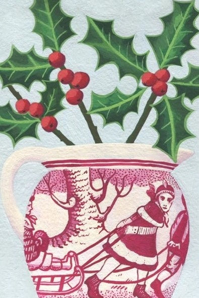 Holly in Sleigh Jug - Greetings Card