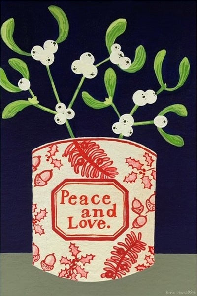 Mistletoe is Peace & Love Cup - Greetings Card