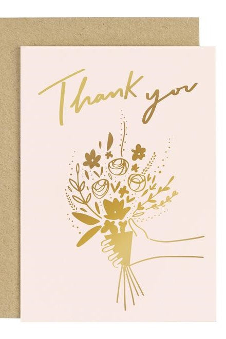 Thank You & Flowers - Greetings Card