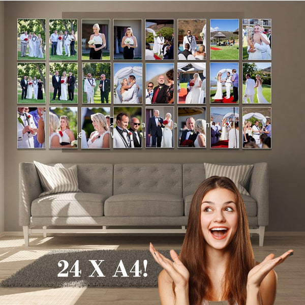 24 (ready-to-hang) x A4 size Canvas Prints!
