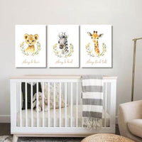 Set of 3 Unisex Safari Animals 1 Canvas & More