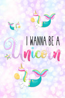 Girls: Set of 1 - I wanna be a Unicorn Mermaid Canvas & More