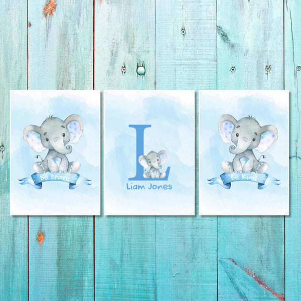 Set of 3 Boys Blue Baby Ellie Canvas & More