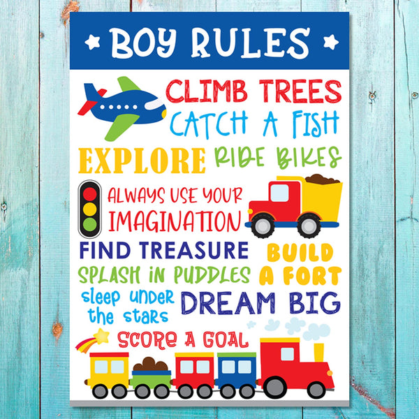 Boys: Set of 1 - Boys Rules Canvas & More