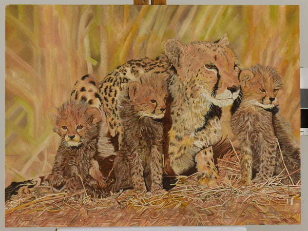 Cheetah & Her Cubs Oil Painting