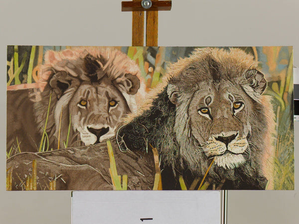 Two Large Male Lions Oil Painting