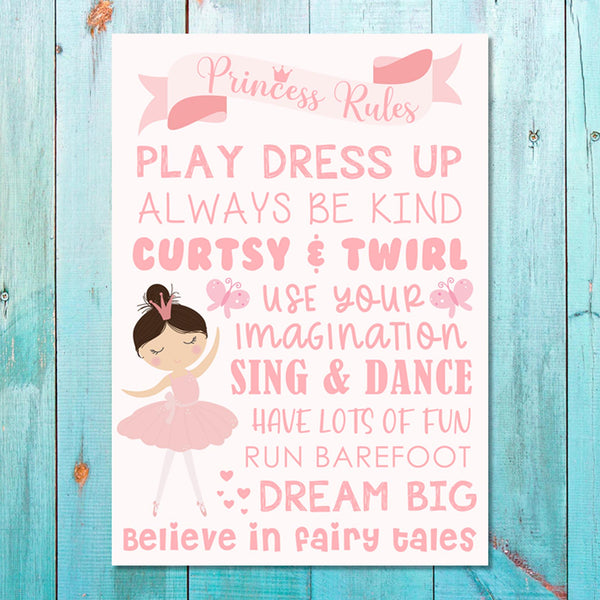 Girls: Set of 1 - Princess Rules Canvas & More