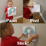 Art & Craft 4 Piece Canvas & Paint Set for Kids  - Just sticks to wall, no damage!