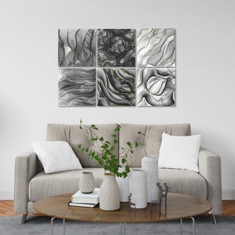 Set of 6 - Silver Ink Canvas & More