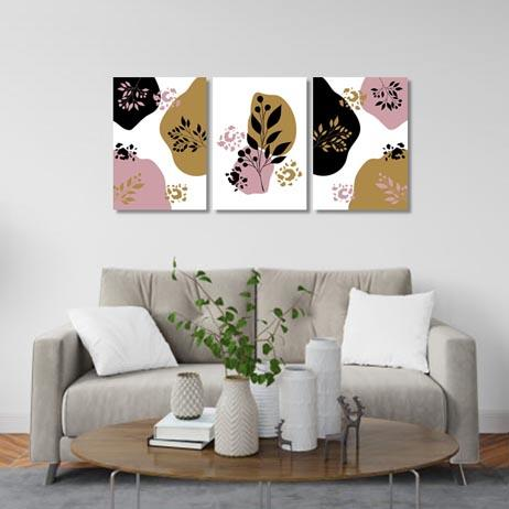 Set of 3 - Abstract floral blush gold Canvas & More