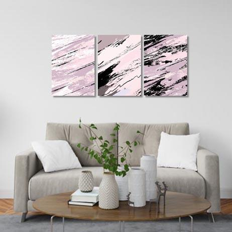 Abstract blush and black - Set of 3 Canvas & More
