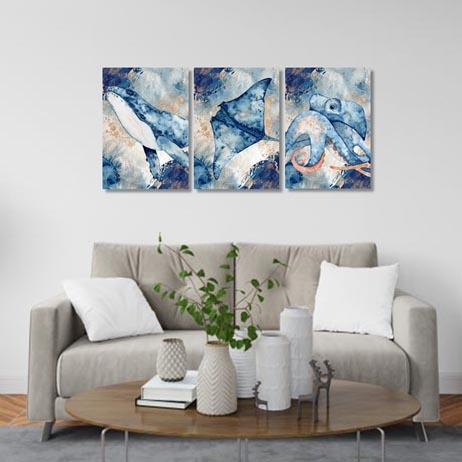 Set of 3 - Underwater Watercolour Canvas & More