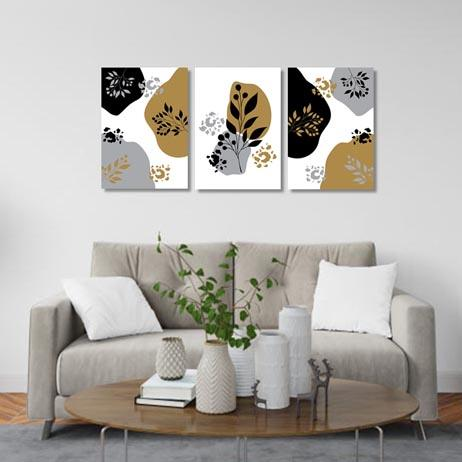Set of 3 - Abstract floral grey gold Canvas & More