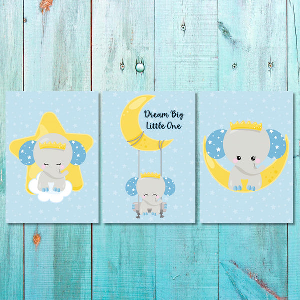 Boys - Set of 3 - Elephant Dream Big Little One Canvas & More
