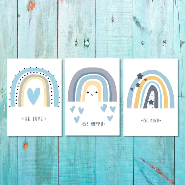 Girls: Set of 3 - Rainbow - Be love - Be Happy - Be Kind Canvas & More