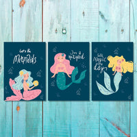 Girls: Set of 3 - Lets-Be-Mermaids (1) Canvas & More
