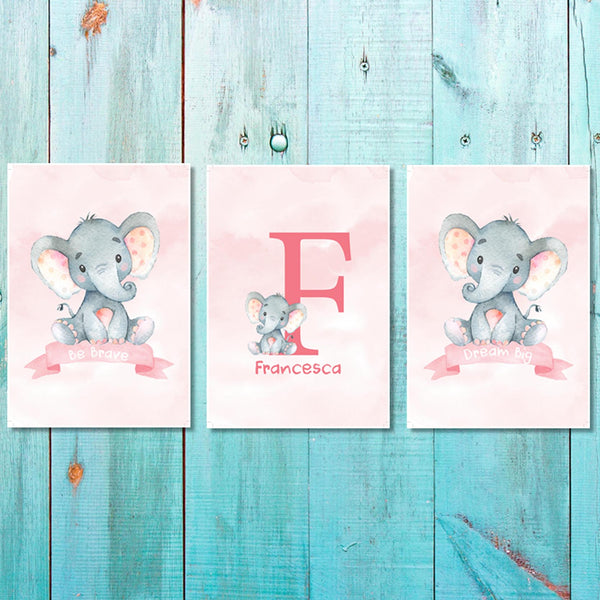 Set of 3 Girls Pink Baby Ellie Canvas & More