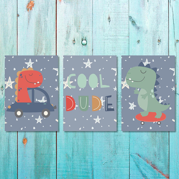 Set of 3 Boys Dino Dude 1 Canvas & More