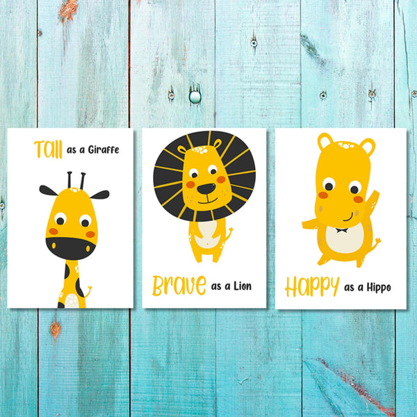 Set of 3 Unisex Brave Animals Canvas & More