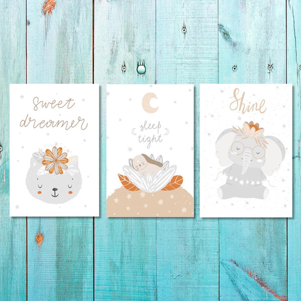 Set of 3 Girls Sweet dreams,Sleep tight, Shine Canvas & More