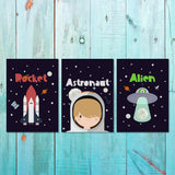 Boys: Set of 3 - Rocket - Astronaut - Alien Canvas & More