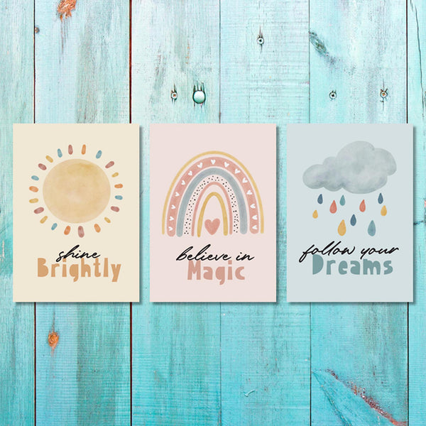 Unisex: Set of 3 Shine Brightly set Canvas & More