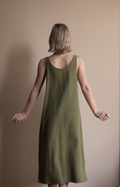 Reversible Raw Silk Dress - Olive