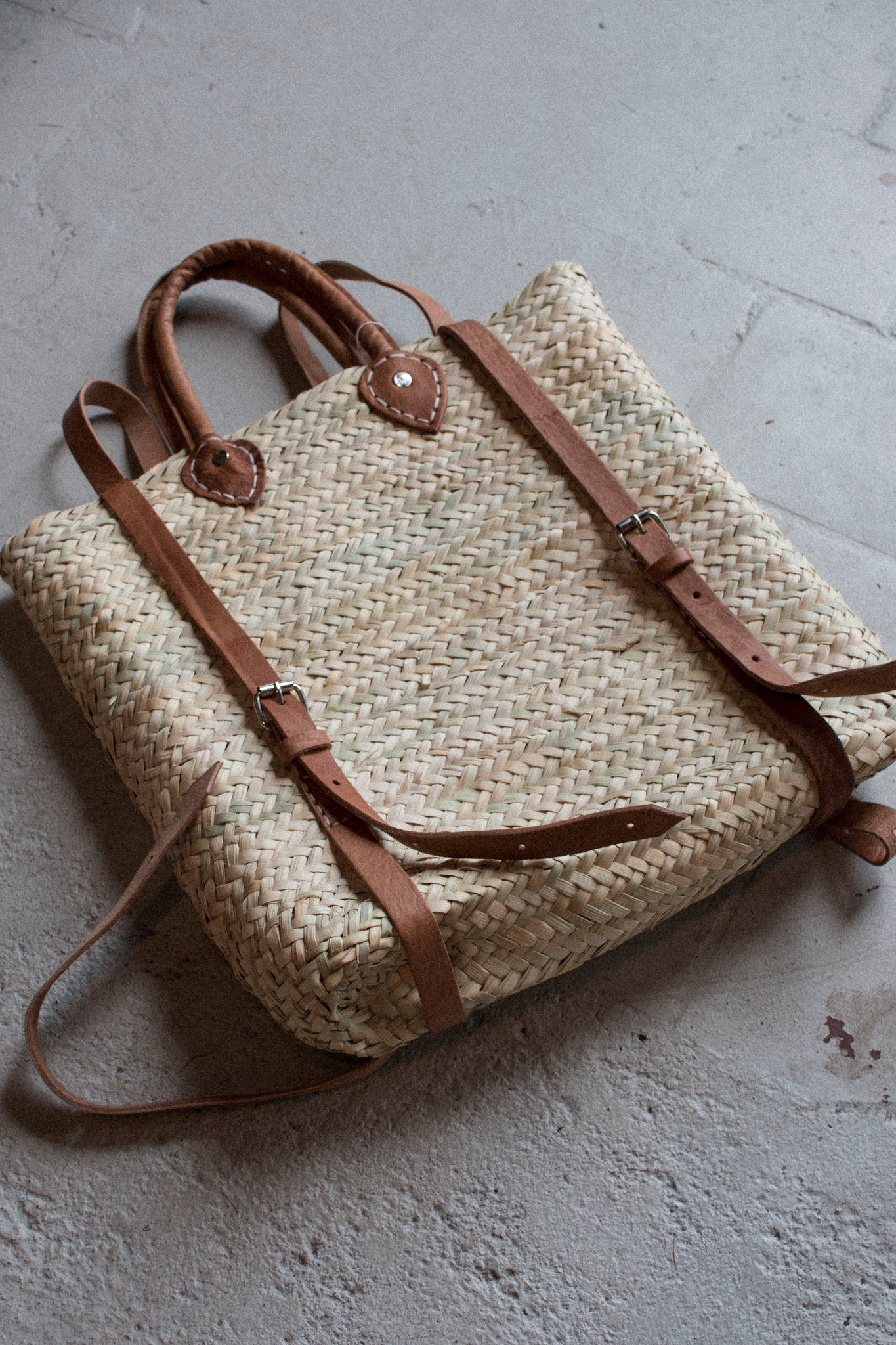 Handwoven Straw Backpack