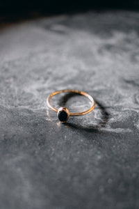 Oval Onyx Stacking Gold Ring