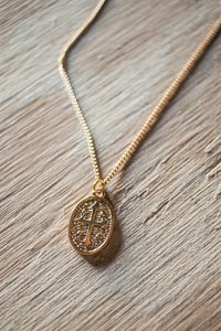Vermeil Oval Cross Medallion Charm Necklace