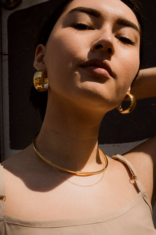 Line Collar With Chain Necklace