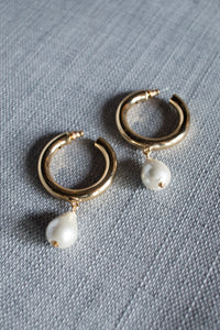 Gold Hoop Earrings with Pearl Drop