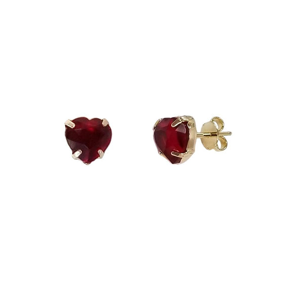 Ruby Heart Studs - ijeweled