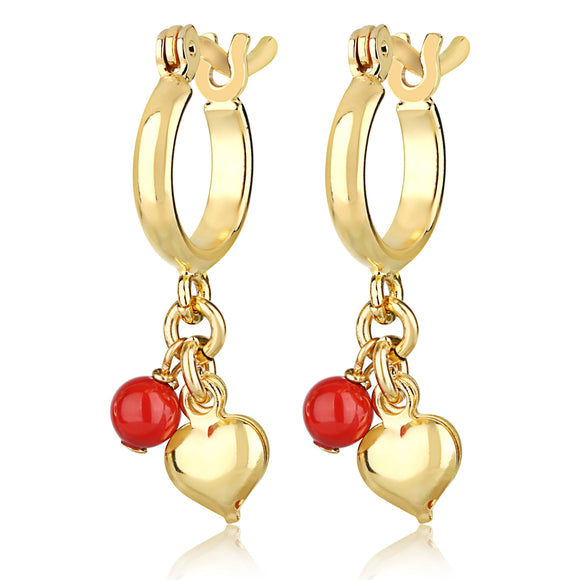swarovski red Coral and gold Heart Hoop hypoallergenic kids earring