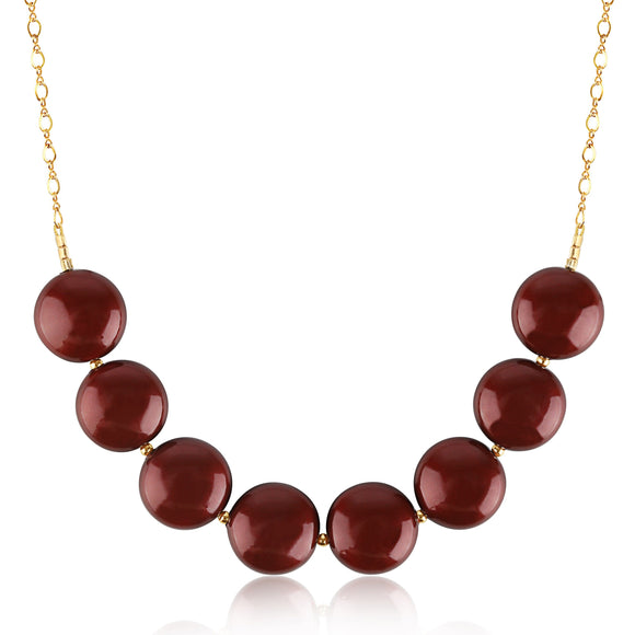 Bordeaux Coin Pearl Necklace - ijeweled