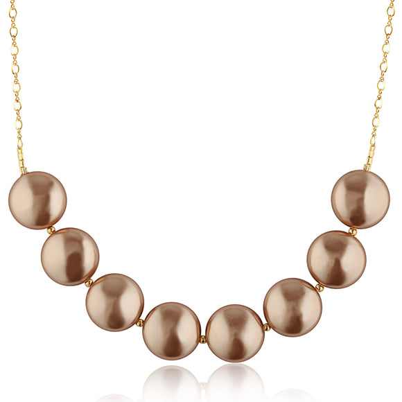Rose Gold Coin Pearl Necklace - ijeweled