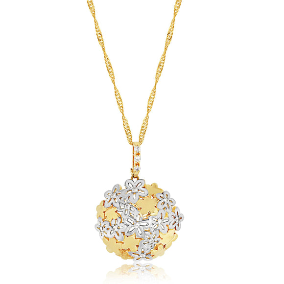 Two Tone Floral Pendant - ijeweled