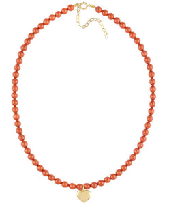 Coral Heart Pendant Necklace - ijeweled