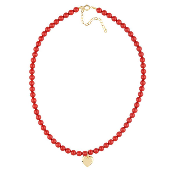 Red Coral Heart Pendant Necklace - ijeweled