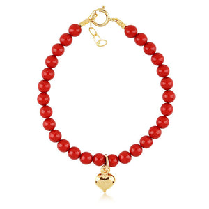 Red Coral Heart Pendant Bracelet - ijeweled