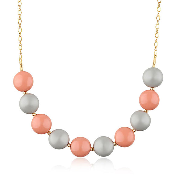 Coral Pastel Coin Pearl Necklace - ijeweled