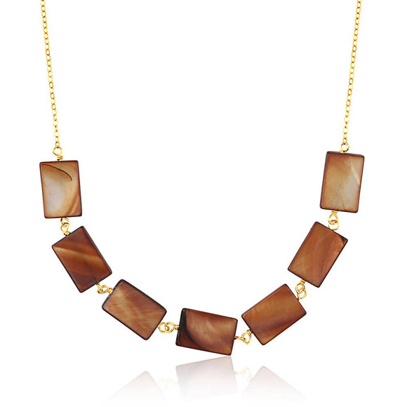 Mother Of Pearl Rectangle Necklace - ijeweled